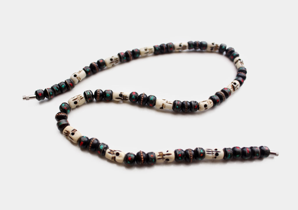 Black Bone Turquoise and Coral Inlaid Mala with Skull Counter - nepacrafts