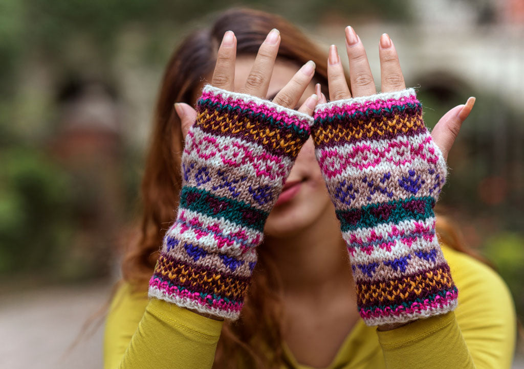 White Pink Multicolor Winter Hand Warmers-Texting Gloves - nepacrafts