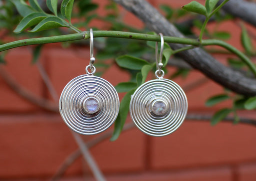 Round Spiral Silver Drop Earrings - nepacrafts