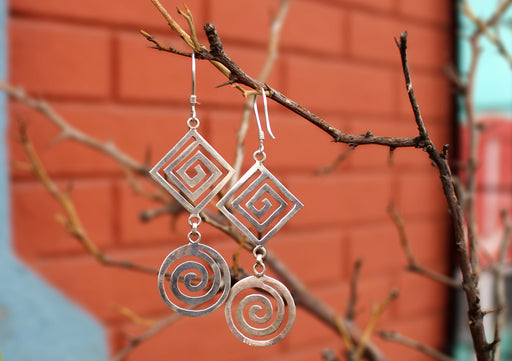 Spiral Dangle Drop Desin Silver Earrings - nepacrafts