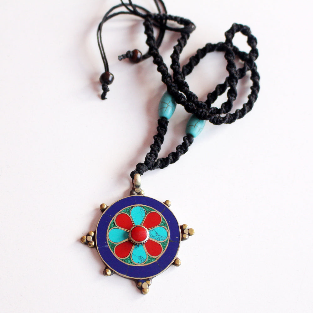 Tibetan White Metal Flower Inlaid Pendant - nepacrafts