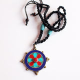 Tibetan White Metal Flower Inlaid Pendant