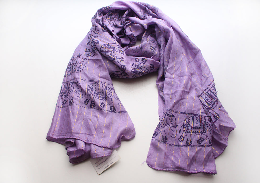 Cotton Meditation Scarf with Elephant Print, Purple Jari Shawl/Scarf - nepacrafts