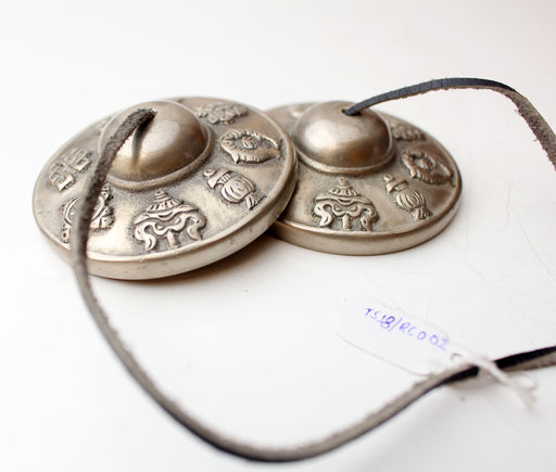 Tibetan Lucky Symbols Musical Tingsha or Cymbals 7 cm - nepacrafts