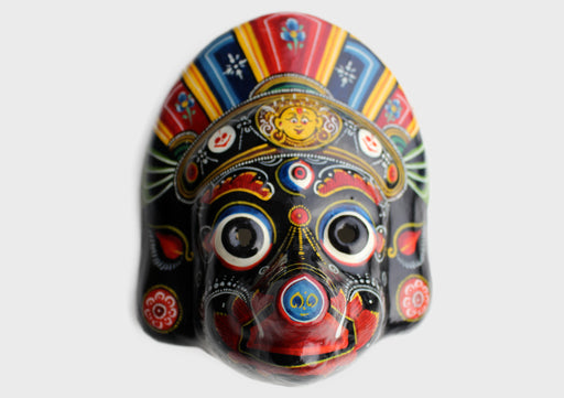Hand Painted Paper Mache Wall Hanging Mask - nepacrafts