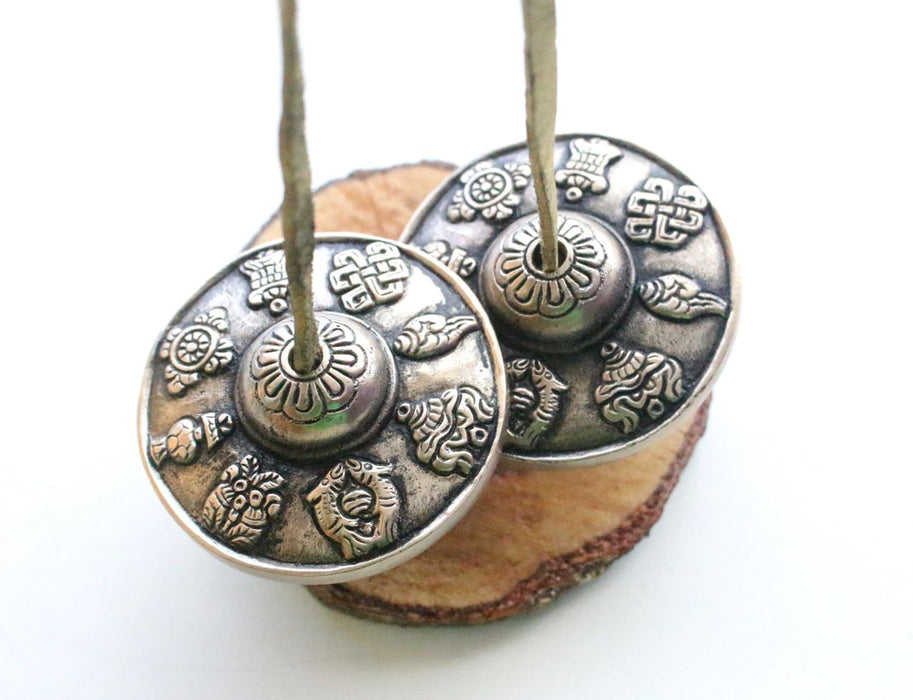Large Eight Auspicious Symbol Musical Tingsha or Cymbals - nepacrafts