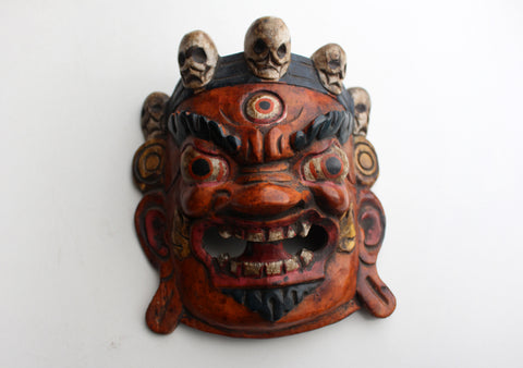 Handcarved Wooden Mahakal Wall Hanging Mask