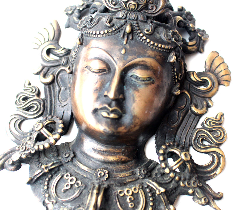 Brass Tara Mask Wall Hanging - nepacrafts