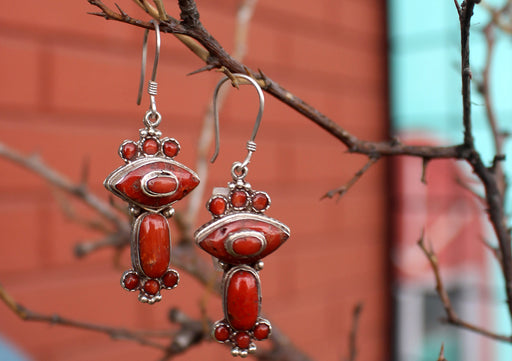 Unique Coral Inlaid Silver Sterling Earrings - nepacrafts