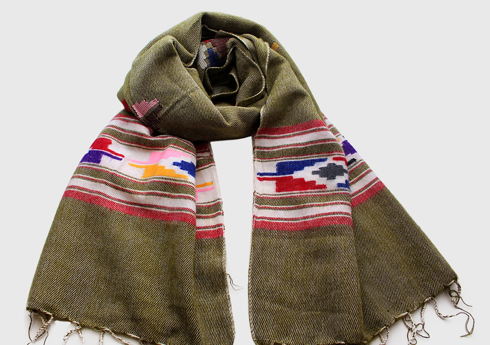 Olive Green Hand Loomed Yak Wool Shawl with Buttefly Pattern - nepacrafts