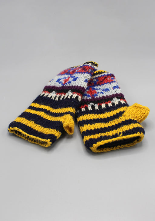 Yellow Black Multicolor Lining Finger less Gloves /Hand Warmers