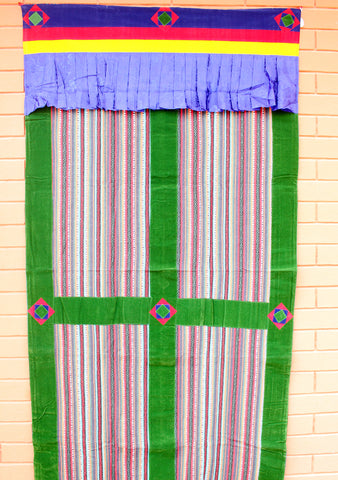 Green Soft Velvet Border Bhutanese Fabric Cotton Door/Wall Hanging Curtain