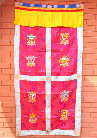 High Quality Heavy Embroidered 8 Auspicious Symbol Tibetan Door Curtain