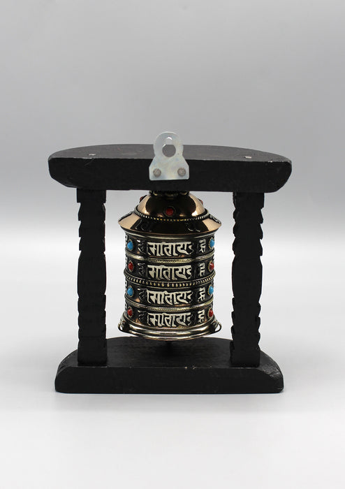 4 Line Om Mani Copper Prayer Wheel With Wooden Frame