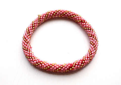Dark Peach Gold Beads Crocheted Roll On Bracelet RB036A