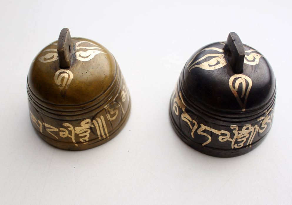 Buddha Eyes and Om Mani Mantra Painted Brass Bell - nepacrafts