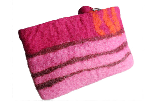 Hand Felted and Hand Dyed Striped Pattern Felt Coin Purse
