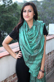Dark Green Om Prayer Shawl, Unhemmed Cotton Shawl, Yoga Meditation Cotton Shawl/Scarf OMS117