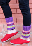 Handknitted Purple Multicolor Christmas Gift Short Legwarmers