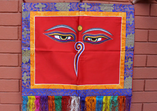 Hand Embroidered Buddha Eyes Wall Hanging Banner - nepacrafts