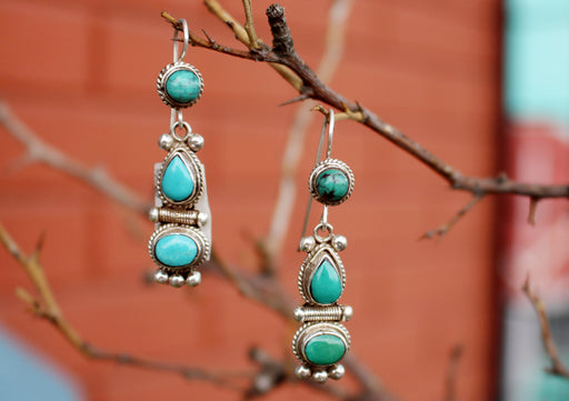 Turquoise Inlaid Traditional Flower Drop Silver Earrings - nepacrafts