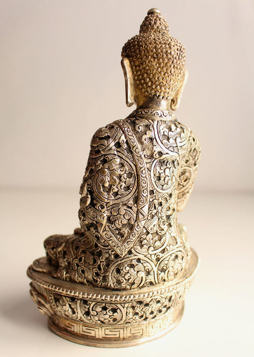 Fully Silver plated Shakyamuni Buddha Copper Statue with extensive floral motif carving BST077 - NepaCrafts