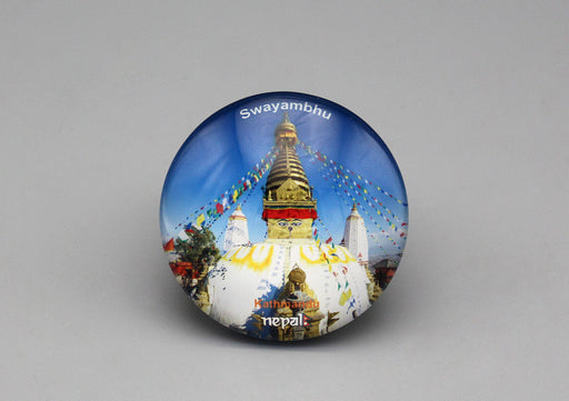 Swayambhunath Stupa Glass Fridge Magnet - nepacrafts