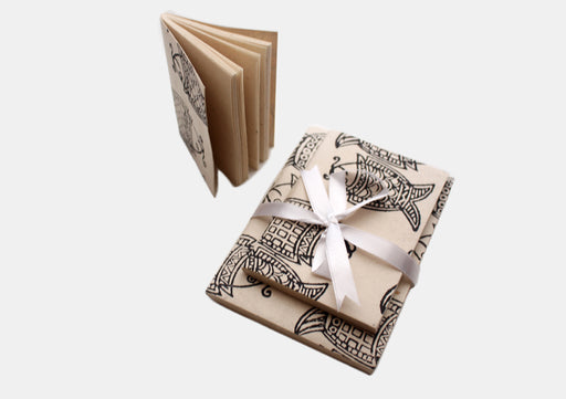 Double Fish Printed Lokta Paper Blank Travel Journals - nepacrafts