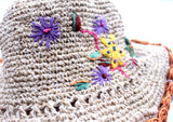 Flower Embroidered Hemp Hat with Orange Lining, Earthy Travel Hat, Hemp Sun Hat HC002 - NepaCrafts