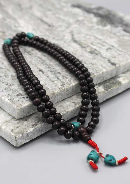 Black Rosewood Tibetan Prayer Mala with Turquoise Counter - nepacrafts