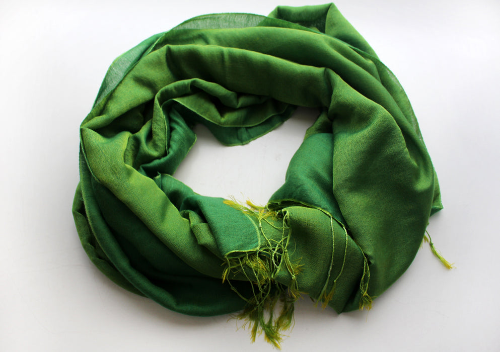 Water Pashmina Shawl Dark Bright Green - nepacrafts