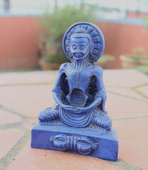 Lapis Toned Emaciated Meditating Buddha Resin Statue RST014BL - nepacrafts