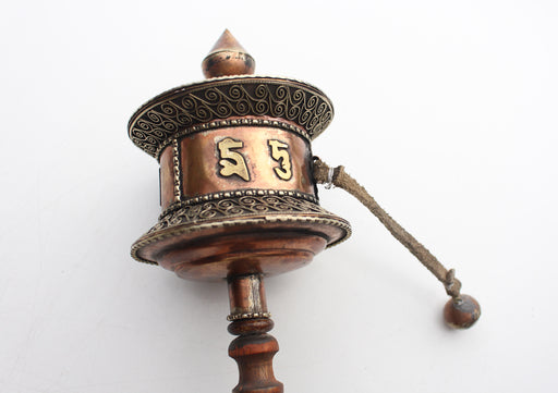 Finely Handcarved Tibetan Buddhist Handheld Spinning Prayer Wheel - nepacrafts