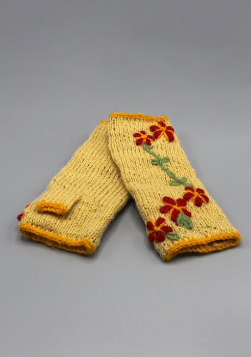 Yellow Color with Red Flower Patchwork Finger less Gloves /Hand Warmers