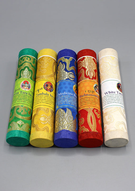 Set of 5 Brocade Tube Tibetan Deities Incense