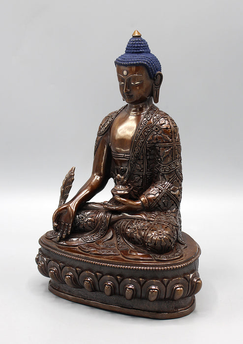 Finely Handcarved Copper Oxidized Medicine Buddha Statue
