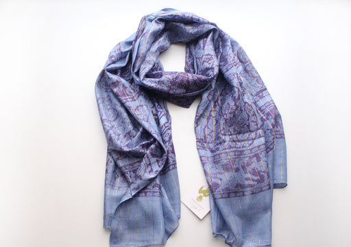 Dark Blue Color Cotton Flower Print Meditation Scarf From Nepal - nepacrafts