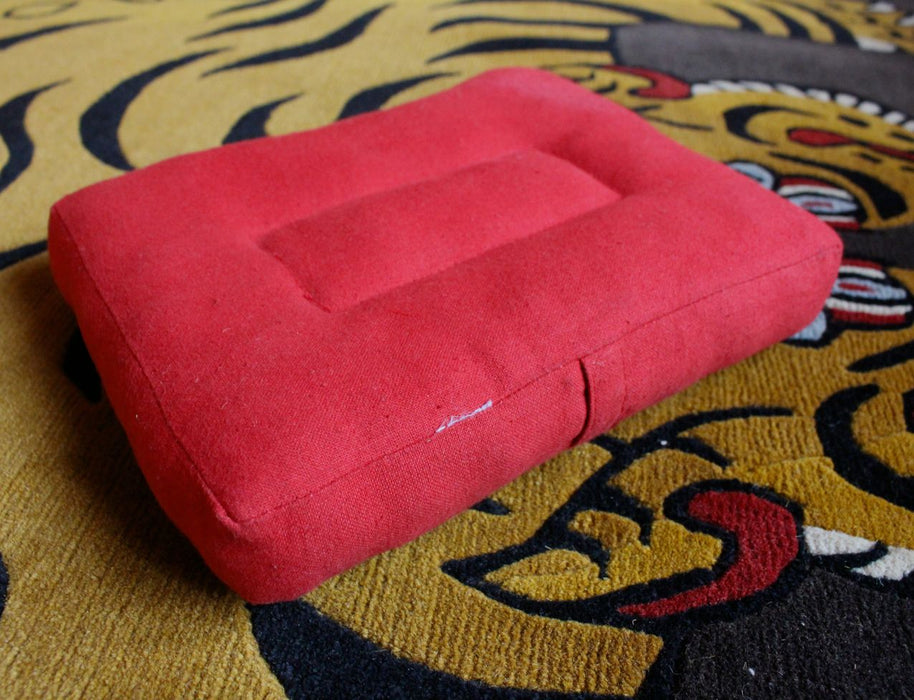 Red Cotton Meditation Cushion - nepacrafts