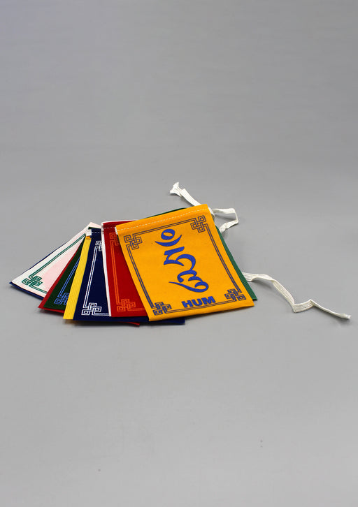 Om Mani Velvet Indoor Prayer Flags-Medium