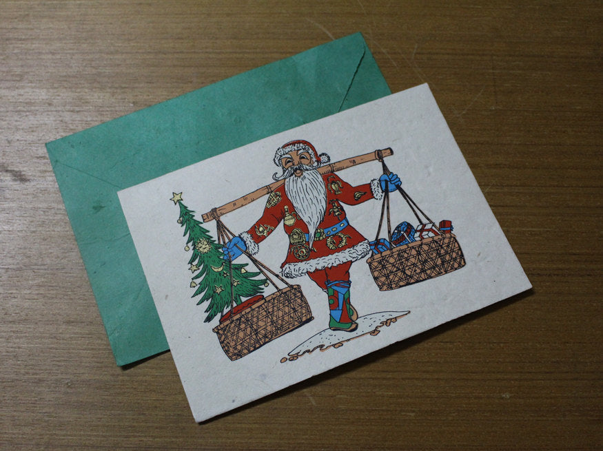 Santa Claus in Nepalese Attire Christmas Greeting Cards - nepacrafts