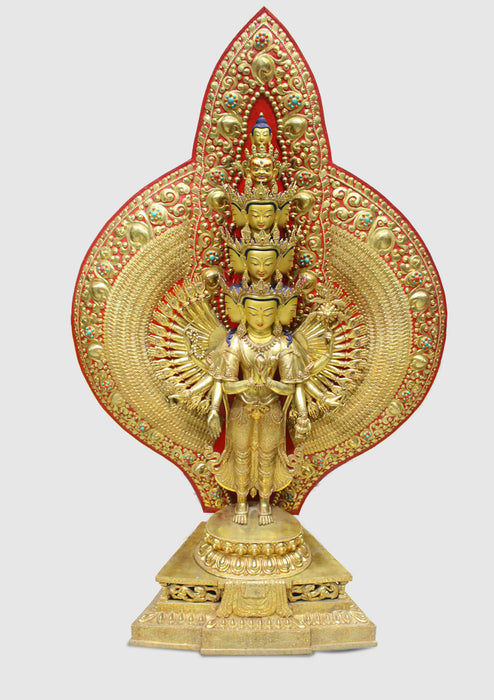 "50"" High Magnificent Thousand Armed Avalokiteshvara Gold Plated Statue - nepacrafts"