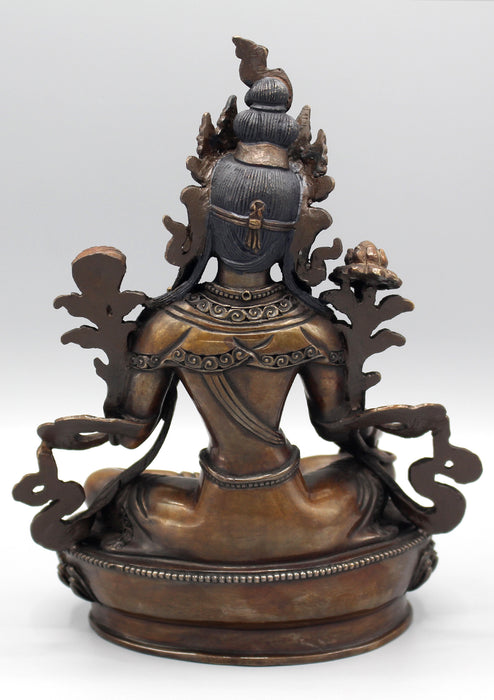 Copper Green Tara Fine Carving Statue - nepacrafts