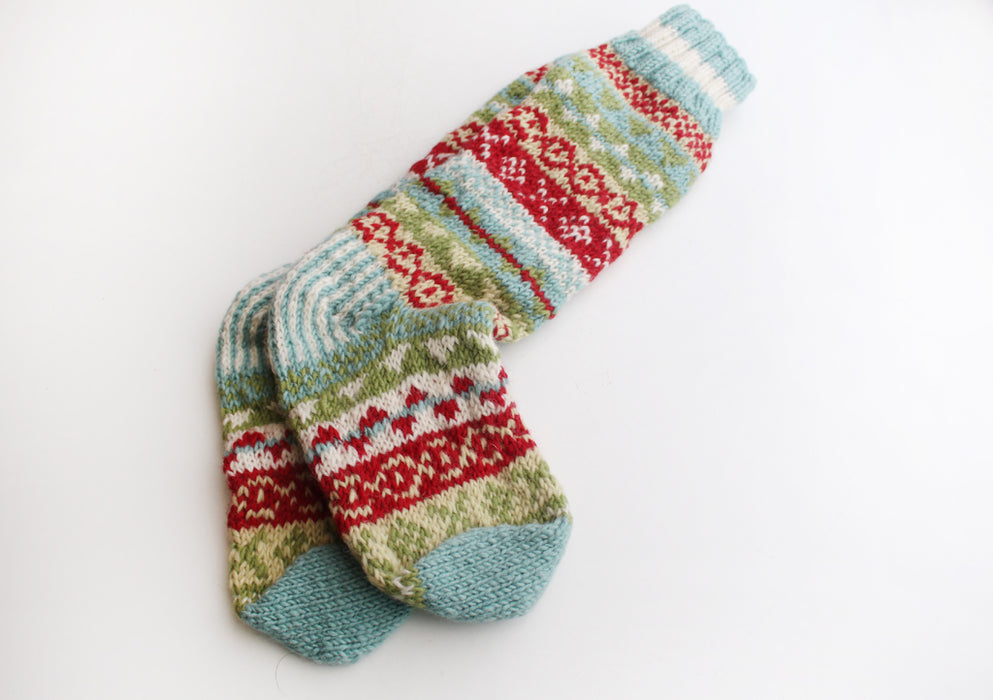 Blue and Red Multicolor Woolen Knee High Socks - nepacrafts