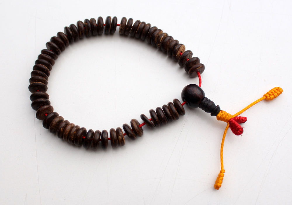 Disk Shaped Prayer Beads Bracelet, Coconut Wrist Mala - nepacrafts