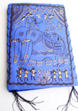 Natural Mithila Arts Elephant Print Royal Blue Paper Lamp Shade - NepaCrafts