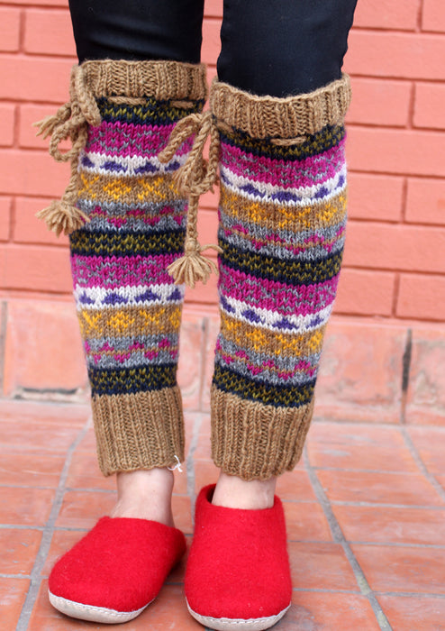 Handknitted Brown Pink Multicolor Winter Legwarmers with Lace - nepacrafts