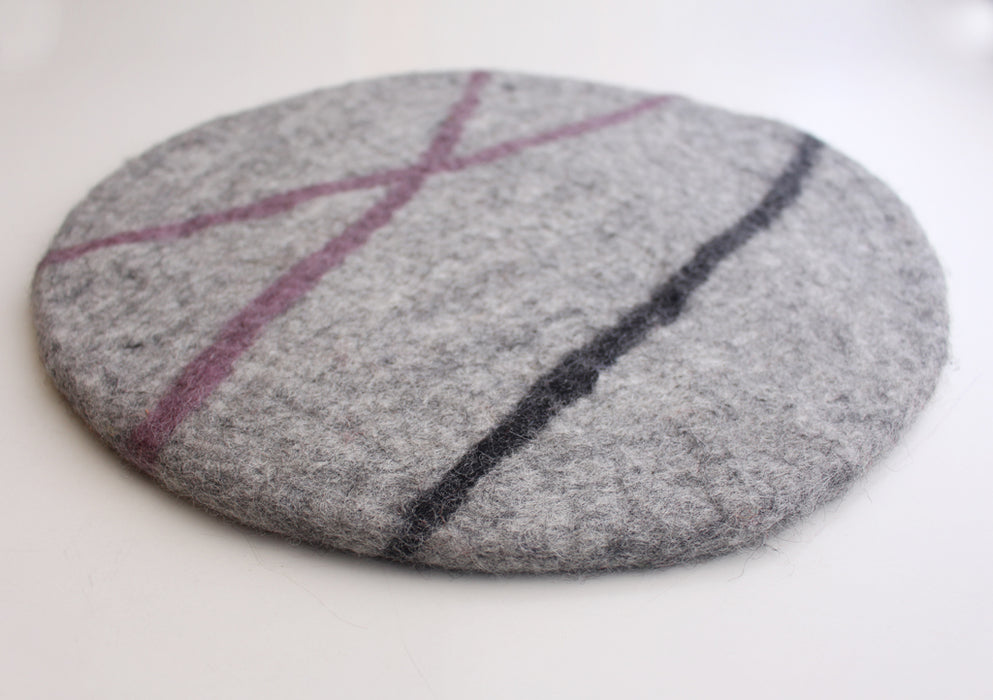 Lightweight Round Felt Cushion/Mat with Purple and Black Lining - nepacrafts