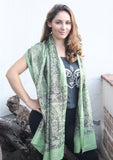 Green Cotton Summer Scarf with Floral Print From Nepal - NepaCrafts