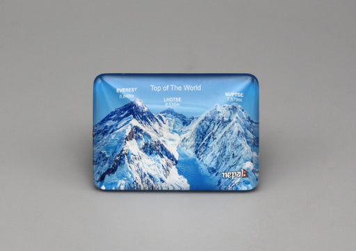 Top of the World Mt Everest Rectangle Glass Fridge Magnet - nepacrafts