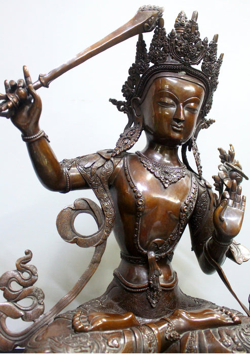 "Expressive 25""High Handcarved Copper Manjushree Statue - nepacrafts"